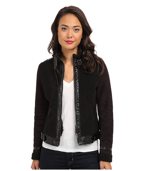 Members Only - Faux Sherling Combination Jacket (Black) Women