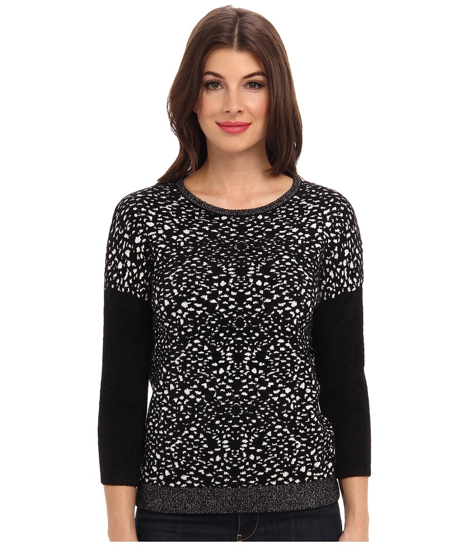 Graham and Spencer - POT4098 Jacquard Print Crew L/S (Black/Milk) Women
