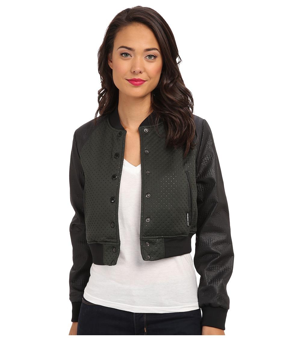 Members Only - Neoprene Jacket (Black/Green) Women's Coat