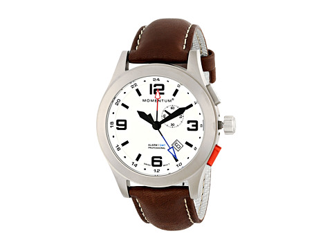 Momentum by St. Moritz - Vortech GMT (White/Brown Leather) Watches