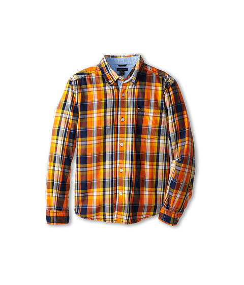 Tommy Hilfiger Kids - L/S Coffey Plaid (Big Kid) (Flag Blue) Boy's Clothing