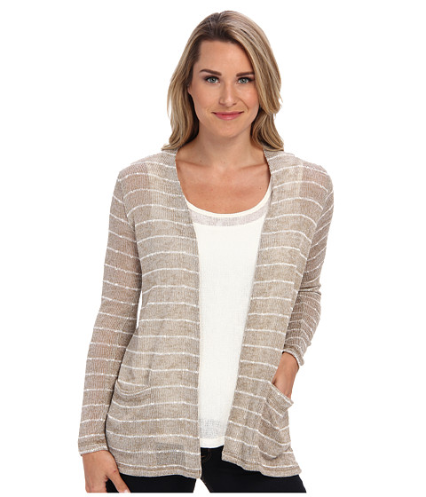 Miraclebody Jeans - Striped Sweater Knit Boyfriend Cardi Twin Set w/ Body-Shaping Inner Shell (Khaki) Women