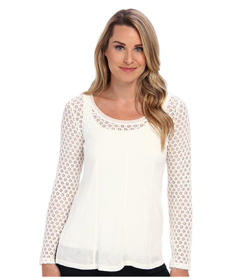 Miraclebody Jeans - Yolanda Lace Yoke Top w/ Body-Shaping Inner Shell (Cream) Women's Blouse