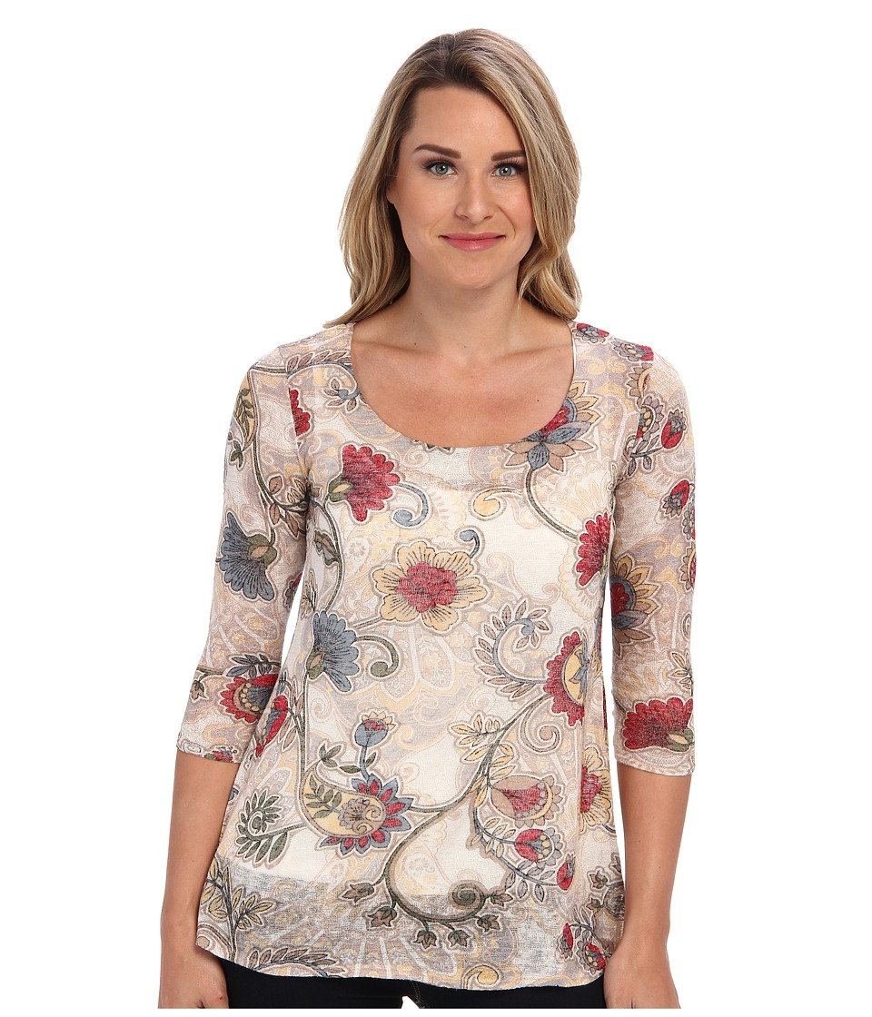 Miraclebody Jeans - Floral Printed 3/4 Sleeve Top w/ Body-Shaping Inner Shell (Oatmeal) Women's Clothing