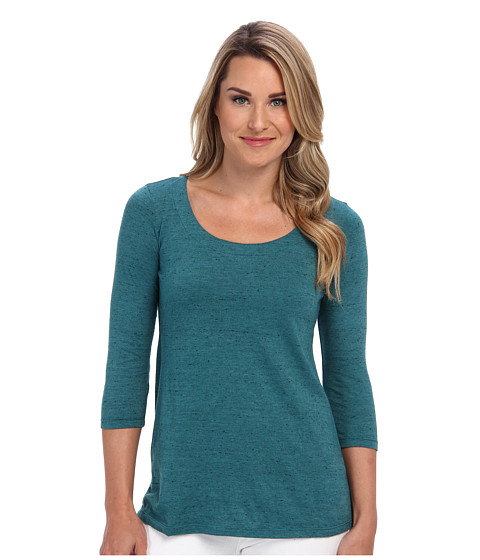 Miraclebody Jeans - Bella Three-Quarter Sleeve Top w/ Body-Shaping Inner Shell (Teal) Women