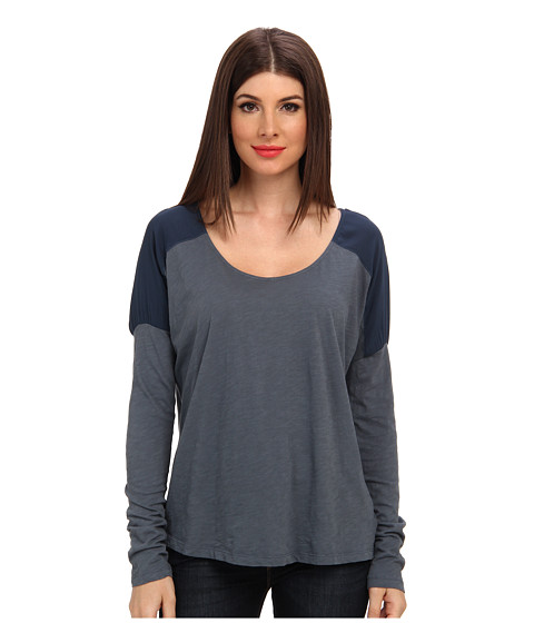Velvet by Graham & Spencer - Ismee02 Rayon Slub Mix Top (Battleship) Women