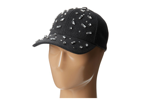 San Diego Hat Company - CTH3692 Wool Cap with Jewels on Front Brim (Charcoal) Caps