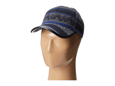San Diego Hat Company - CTH3698 Ethnic Print Cap with Faux Leather Trim (Royal) Caps