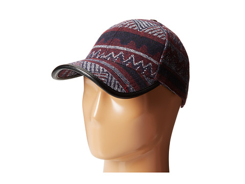 San Diego Hat Company - CTH3698 Ethnic Print Cap with Faux Leather Trim (Wine) Caps