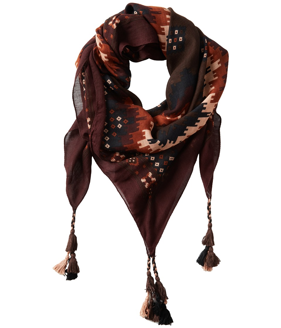 San Diego Hat Company - BSS1409 Aztec Fabric Scarf with Tassels (Chocolate) Scarves