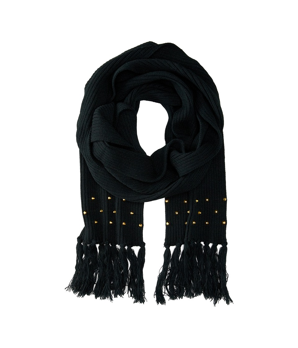 San Diego Hat Company - BSS1422 Knit Scarf with Tassels Gold Studs (Black) Scarves