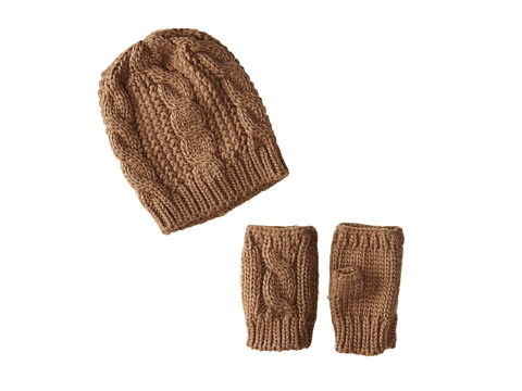 San Diego Hat Company - KNH3340 Cable Knit Fingerless Gloves Beanie Set (Taupe) Beanies