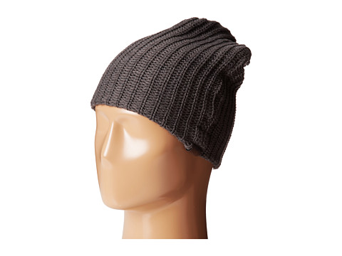 San Diego Hat Company - KNH3324 Cable Knit Beanie with Suede Tab (Charcoal) Beanies