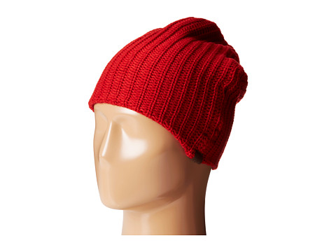 San Diego Hat Company - KNH3324 Cable Knit Beanie with Suede Tab (Red) Beanies
