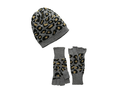 San Diego Hat Company - KNH3332 Leopard Knit Fingerless Gloves Beanie Set (Camel) Beanies