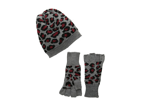 San Diego Hat Company - KNH3332 Leopard Knit Fingerless Gloves Beanie Set (Red) Beanies
