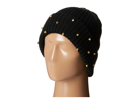 San Diego Hat Company - KNH3306 Cable Knit Beanie with Gold Flat Studs (Black) Beanies