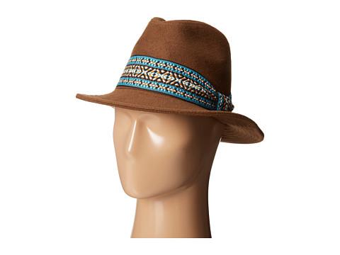 San Diego Hat Company - EBH9878 2 Brim Felt Tall Crown Fedora w/ Jacquard Band (Pecan) Fedora Hats