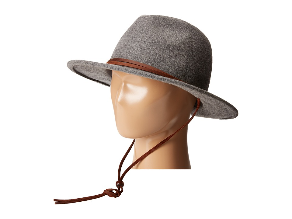 San Diego Hat Company - WFH7918 2.5 Brim Felt Fedora w/ Leather Band Chin Cord (Charcoal) Fedora Hats