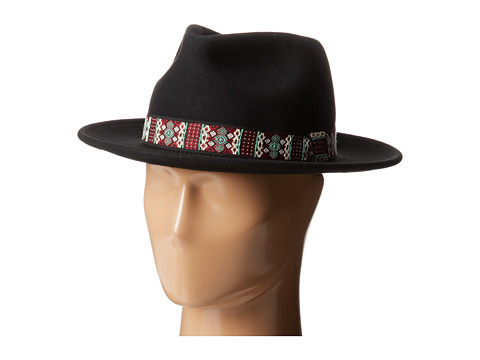 San Diego Hat Company - WFH7932 2.5 Brim Felt Fedora w/ Jacquard Band (Black) Fedora Hats