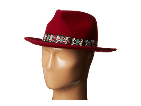 San Diego Hat Company - WFH7932 2.5 Brim Felt Fedora w/ Jacquard Band (Wine) Fedora Hats