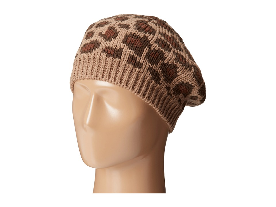 San Diego Hat Company - KNH3316 Leopard Knit Beret (Camel) Berets