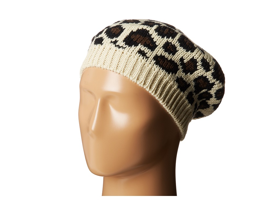 San Diego Hat Company - KNH3316 Leopard Knit Beret (Ivory) Berets