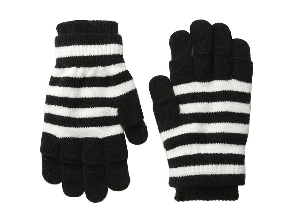 San Diego Hat Company - KNG3152 Knit Gloves with Fingerless Gloves on Top (Black Stripe) Dress Gloves