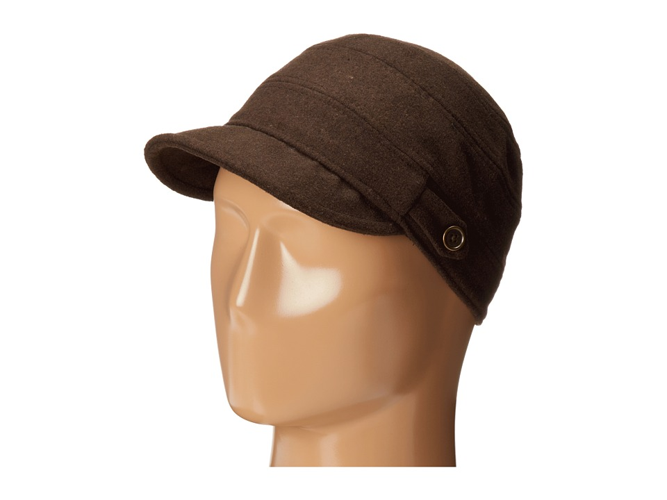 San Diego Hat Company - CTH3712 Cadet with Side Tabs Brass Buttons (Brown) Traditional Hats