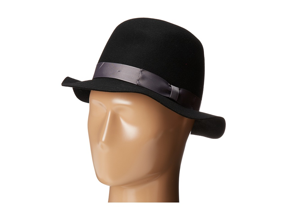 San Diego Hat Company - WFH7916 2 brim Felt Round Crown Bowler (Black) Traditional Hats
