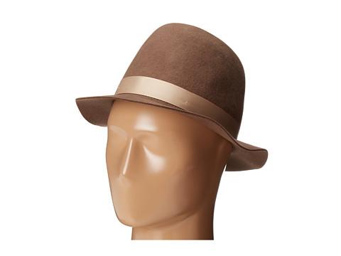 San Diego Hat Company - WFH7916 2 brim Felt Round Crown Bowler (Camel) Traditional Hats