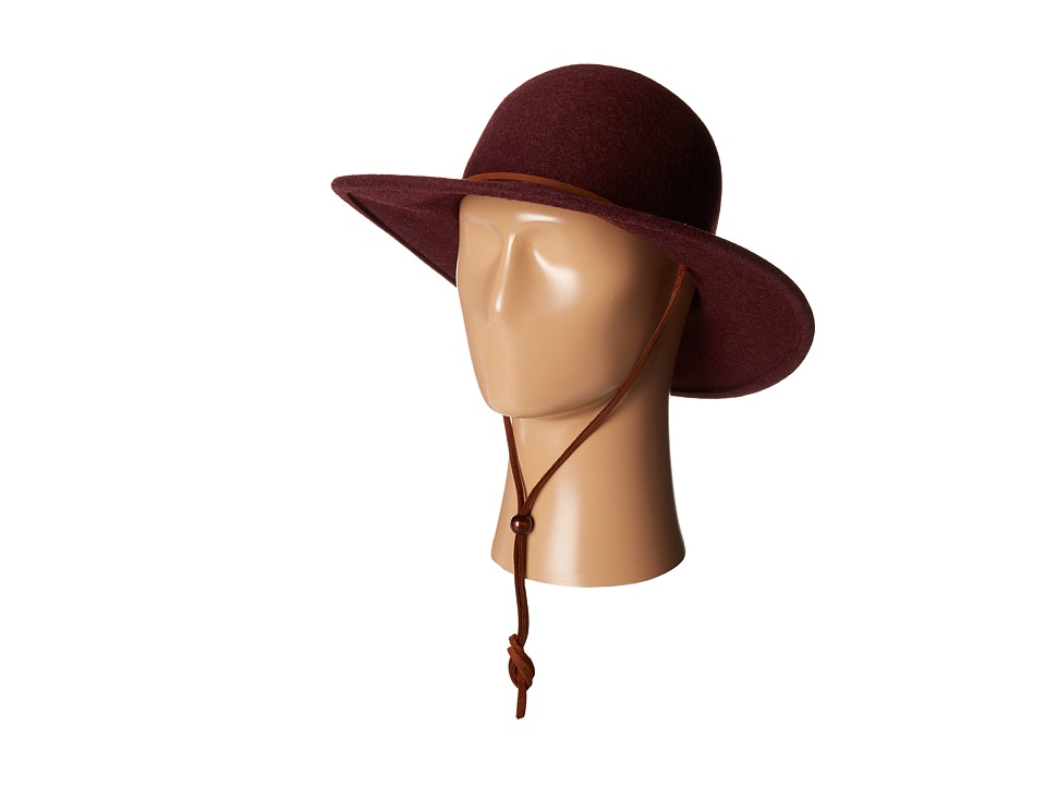 San Diego Hat Company - WFH7920 3 Brim Felt Round Top Floppy w/ Leather Band Chin Cord (Mix Wine) Traditional Hats