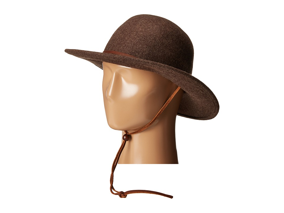 San Diego Hat Company - WFH7920 3 Brim Felt Round Top Floppy w/ Leather Band Chin Cord (Mix Brown) Traditional Hats