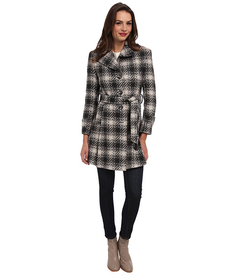 DKNY - SB Belted Plaid Trenchcoat (Charcoal) Women's Coat