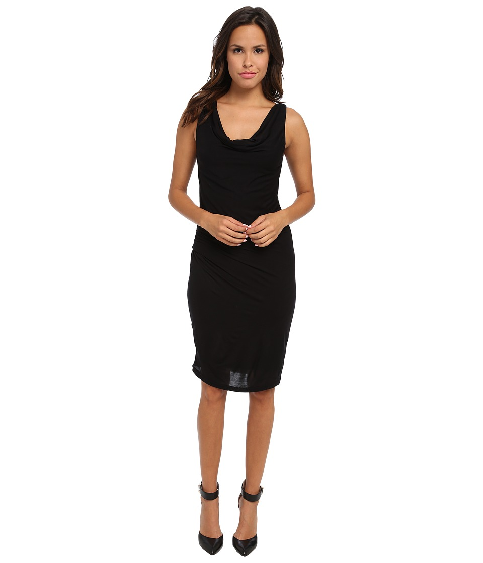 Velvet by Graham & Spencer - Jodi New Drapey Slinky Shirred Dress (Black) Women