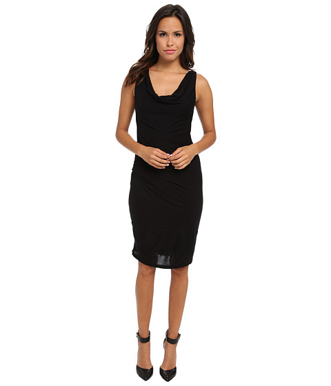 Velvet by Graham & Spencer - Jodi New Drapey Slinky Shirred Dress (Black) Women's Dress