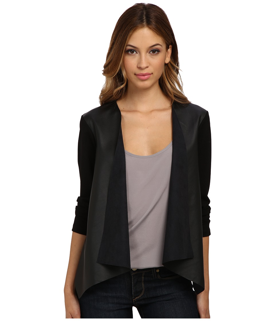 Velvet by Graham & Spencer - Candy Faux Leather Ponte Draped Cardi (Black) Women's Sweater