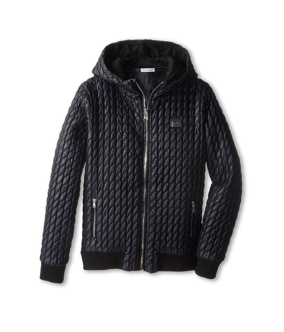 Dolce & Gabbana - Quilted Hooded Zip Up Jacket (Big Kids) (Very Dark Blue) Men's Coat