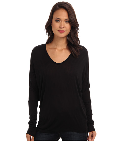 Velvet by Graham & Spencer - Blenda Slinky L/S Tee (Black) Women's T Shirt