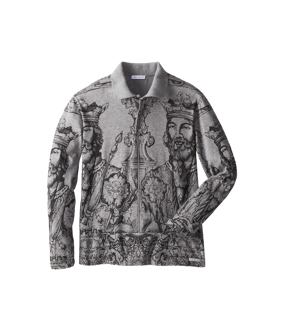 Dolce & Gabbana - Norman Print Long Sleeve Polo Shirt (Big Kids) (Melange Grey) Men