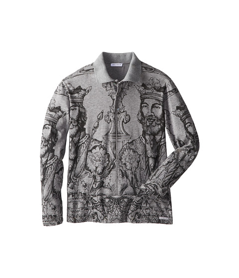 Dolce & Gabbana - Norman Print Long Sleeve Polo Shirt (Big Kids) (Melange Grey) Men