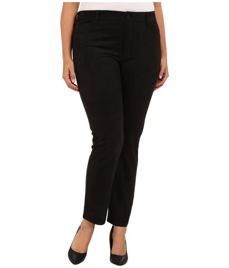 NYDJ Plus Size - Plus Size Sheri Skinny Faux Suede (Black) Women's Casual Pants plus size,  plus size fashion plus size appare