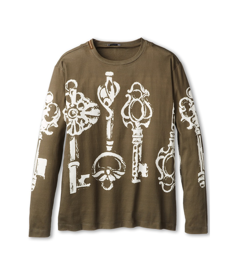Dolce & Gabbana - Oversized Key Print Long Sleeve T-Shirt (Big Kids) (Multi) Men's Long Sleeve Pullover