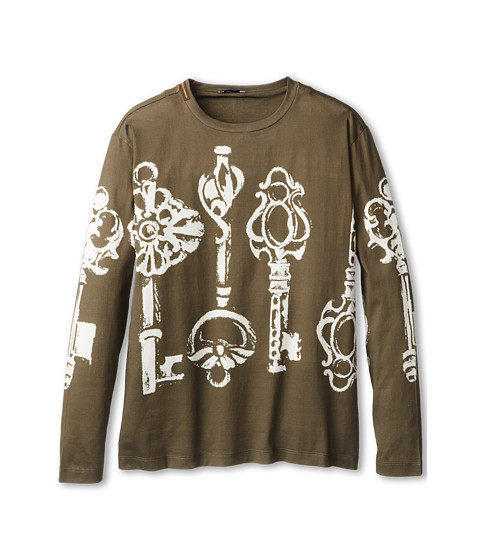 Dolce & Gabbana - Oversized Key Print Long Sleeve T-Shirt (Big Kids) (Multi) Men
