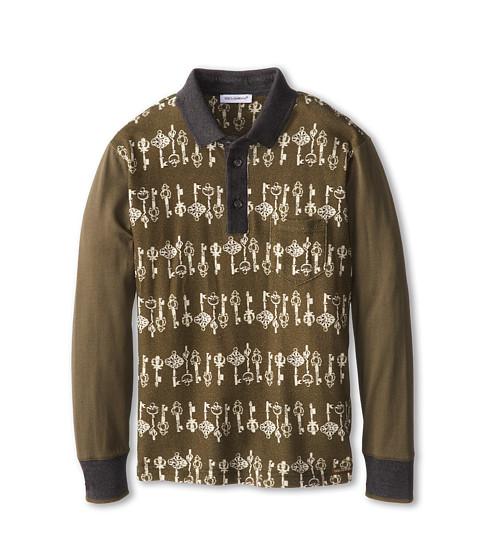 Dolce & Gabbana - Key Print Long Sleeve Polo (Toddler/Little Kids) (Multi) Men