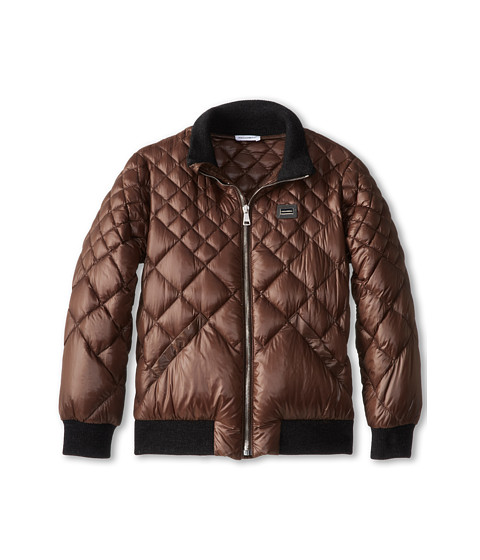 Dolce & Gabbana - Quilted Nylon Down Jacket (Big Kids) (Brown/Grey) Men