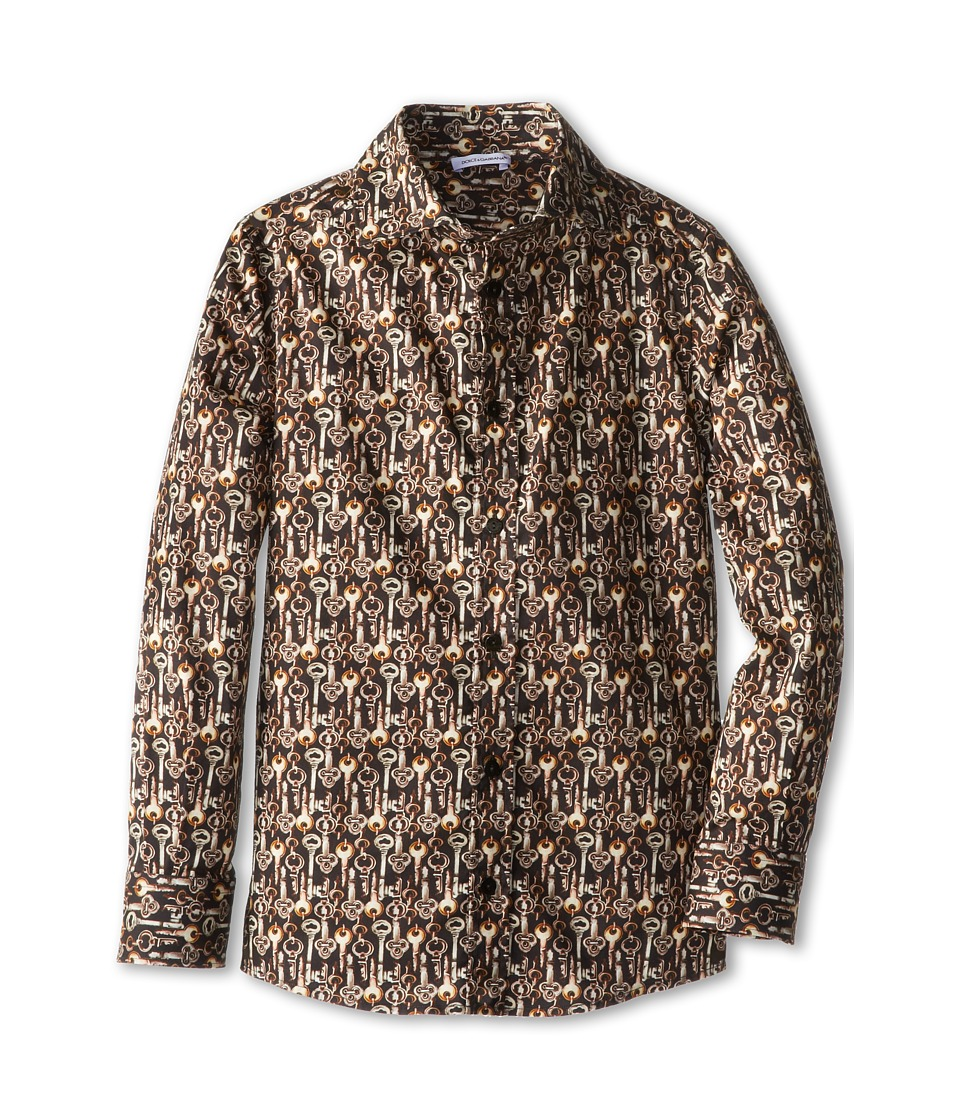 Dolce & Gabbana - Long Sleeve Key Print Button Up Shirt (Big Kids) (Print) Men