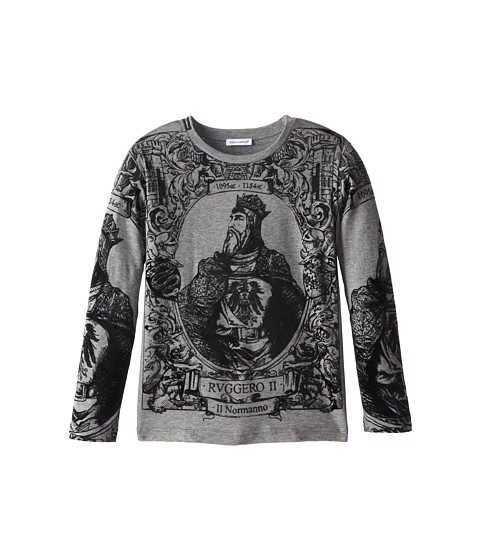 Dolce & Gabbana - Long Sleeve Graphic T-Shirt (Little Kids) (Melange Grey) Men's T Shirt