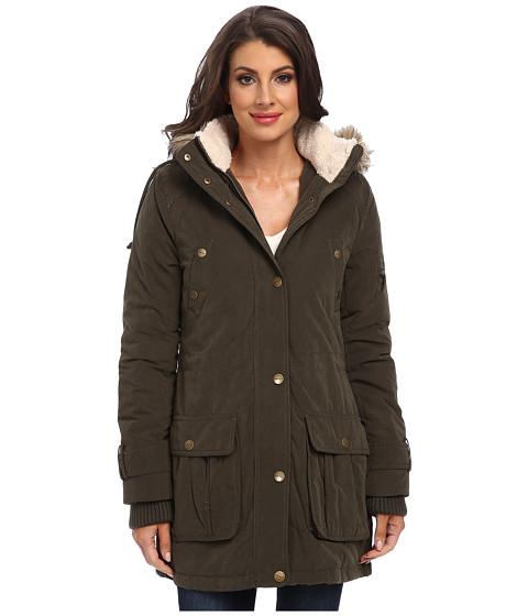 DKNY - Faux Fur Hooded Anorak (Loden) Women's Coat