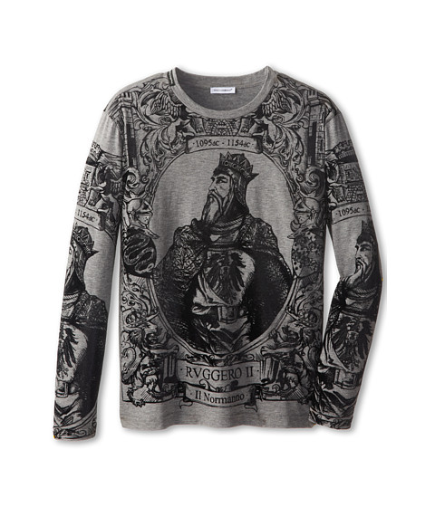 Dolce & Gabbana - Long Sleeve Graphic T-Shirt (Big Kids) (Melange Grey) Men